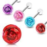 Piercing de la langue boule transparente barbell acier rose rouge fleur