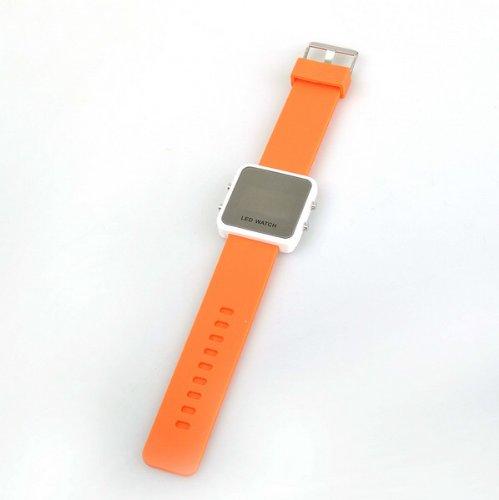 Bestdealusa Orange Jelly Silicone Luxury Sport Style Led Digital Date Watch Wristwatch