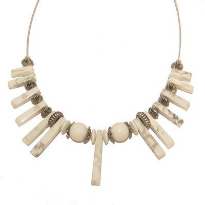 Howlite Necklace 03 Fan White Vein Silver Crystal Choker Stone 15