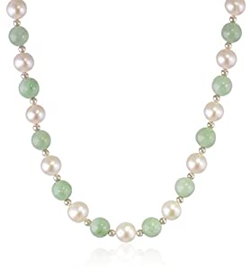 14kt Yellow Gold, Green Jade Bead and Freshwater Pearl Necklace, 18