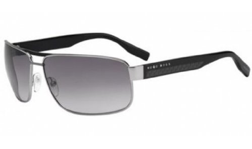 Hugo Boss 0485/S Men'S Polarized Rectangular Full Rim Lifestyle Sunglasses - Ruthenium/Gray / Size 65/14-130