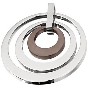 Stainless Steel 33.98X33.91Mm Ladies Triple Circle Pendant With Chocolate Immerse Plating
