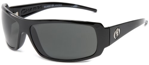 Electric Visual Charge Polarized Wrap Sunglasses,Gloss Black Frame/Grey Glass Lens,One Size