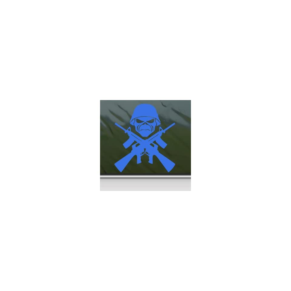 Eddie Machine Guns Iron Maiden Blue Decal Band Car Blue Sticker
