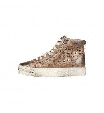 Sneakers donna con zeppa con borchie colore bronzo varie taglie