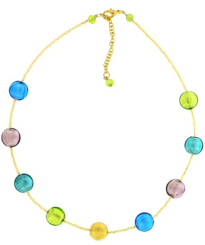 Amanti Venezia Murano Gold Plated Multi Genuine Necklace with Gold Conterie Beads of 47.5cm + 5.5cm Extender