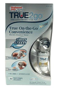 True 2 Go Blood Glucose Meter with Twist and Test Process 1 Ea