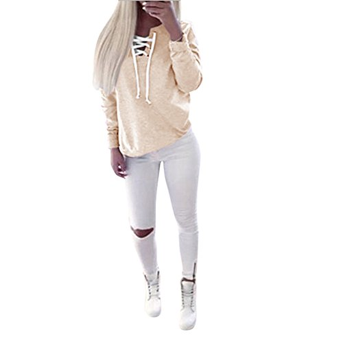 FAPIZI ♥ Women Blouse ♥ Women Autumn Long Sleeve Pullover Lace-up Tops Blouse Casual Sports T-shirt (XL, Khaki)