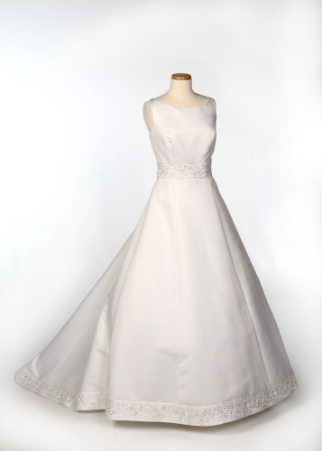 White Spagetti Strap Satin Wedding Gown