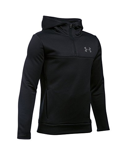 Under Armour Boys' Storm Armour Fleece 1/4 Zip Hoodie, Black (001), Youth Large