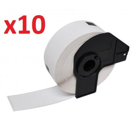 10 x DK-11218 étiquettes rondes, papier, blanches (1000 Étiquettes par Rouleau) - Ruban