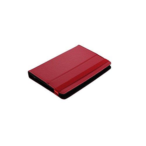 Z0103 Universal Leder Bookstyle Tasche Buch Aufklapp Stand Bag Hardcover Hardcase Tasche Case Hülle Cover 7 Zoll Kletthalterungen Rot für Bookeen Cybook Odyssey HD