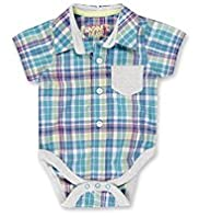Pure Cotton Checked Shirt Bodysuit
