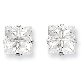 Genuine IceCarats Designer Jewelry Gift Sterling Silver 6Mm Square Cz 4 Prong Stud Earrings