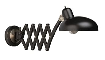 Robert Abbey 1849 Rico Espinet Bruno - One Light Scissor Wall Sconce, Bronze with Ebonized Nickel Finish with Metal Shade