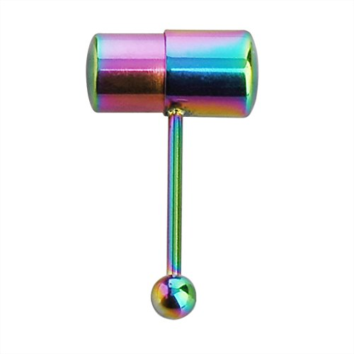 IPINK 14g Stainless Steel Rainbow Anodized Vibrating Tongue Piercing Barbell Stud with 2 Batteries