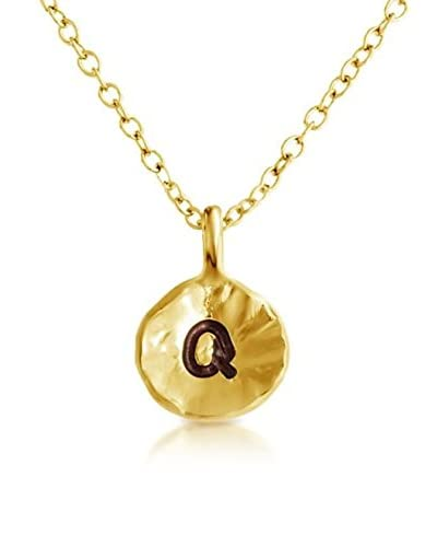 Belcho Hammered Q Initial Pendant Necklace
