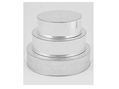 "3 Tier Professional Heavy Duty Round Wedding Cake Tins 6"" 8"" 10"" (3"" Deep)"