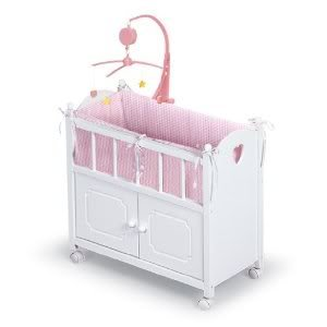 Toy / Game Badger Basket White Doll Crib With Cabinet Bedding & Mobile - Pink/White - Perfect Place For Bedtime front-988501