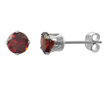 Garnet Gemstone Sterling Silver Stud Circle Earrings 5mm