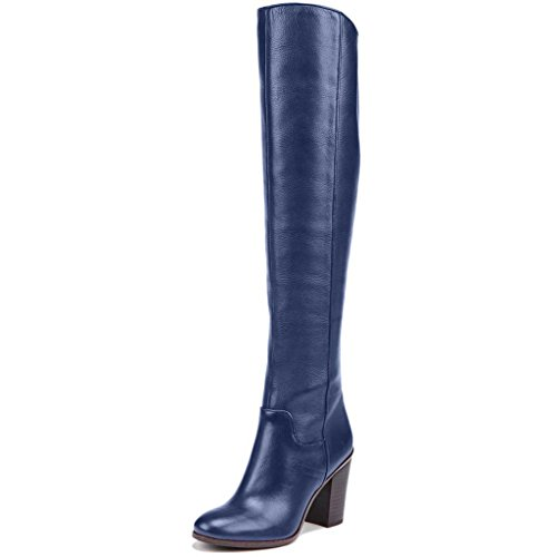 Image of Nancy Jayjii Women Knee High Stacked Heel with Side Zipper Retro Leather Riding Boots Blue 11