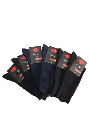 Weri Spezials 6 Paires de Chaussettes pour Hommes avec caoutchouc Medical delicat, 4 Paires Noir + 2 Paires Marine, Taille: 39-42