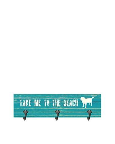 Artehouse Take Me To The Beach Leash Hanger, Blue/White