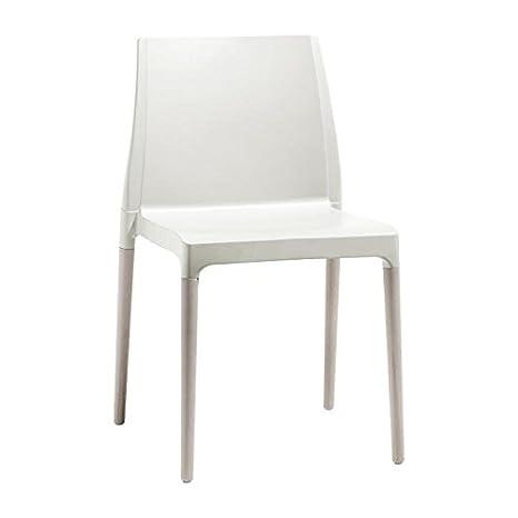 Idee Stuhle bar 2, Sessel aus Technopolymer verstärkt und Rahmen in Buche fur zwei Pack