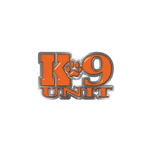 REFLECITVE K9 Unit with Dog Paw Law Enforcement Decal in Orange   6 h x 9.5 w   REFLECITVE