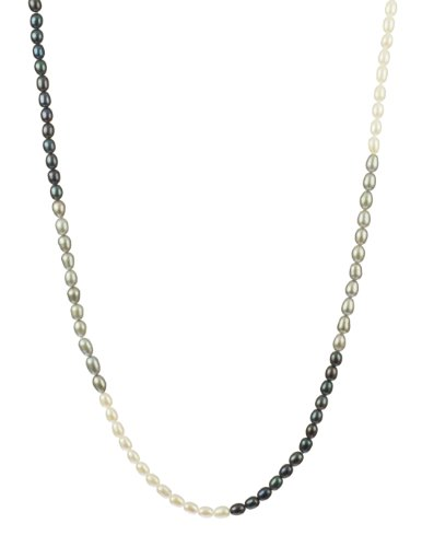 Tri-Tone Silver Gray, Peacock, and White Rice Freshwater Pearl Knotted Endless Necklace, 36