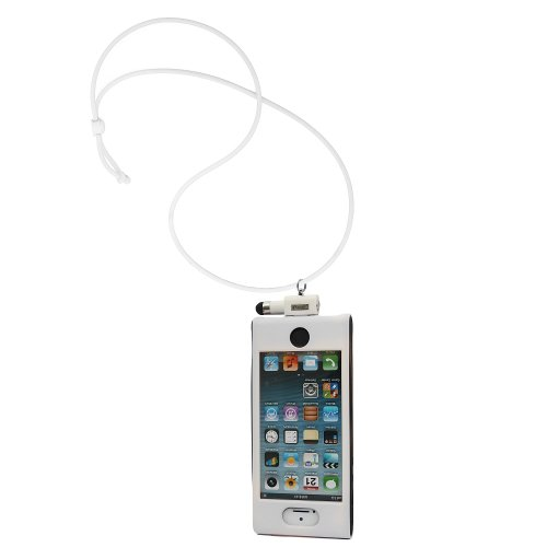 iHangy IHG-ONT-34679 Slip-In 5 Case with Lanyard Necklace and Stylus for iPhone 5 - Retail Packaging - White/Black