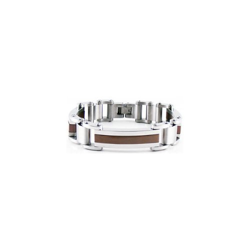 Stainless Steel Double Link Bracelet With Immerse Plating 08.50 Inch Chocolate Lated B891