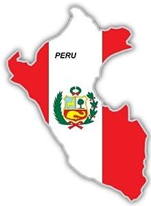"Amazon.com: Peru map flag sticker decal 4"" x 5"": Automotive"