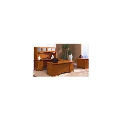 Lorell Single Pedestal Desk, Left Pedestal, 66 by 30 by 29-Inch, Honey Cherry