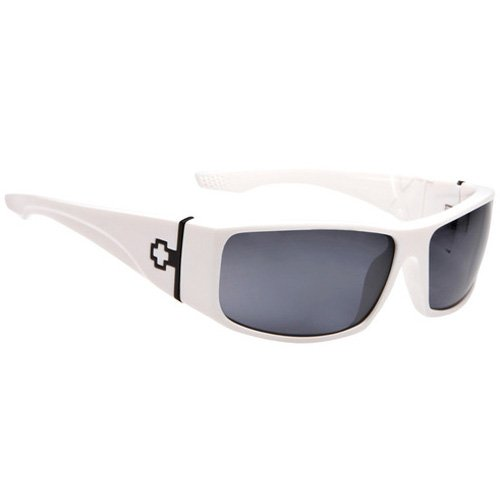 Spy Cooper XL Sunglasses - Spy Optic Steady Series Polarized Sports Wear Eyewear - Color: Shiny White/Grey, Size: One Size Fits All