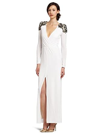 BCBGMAXAZRIA Women's Anna Long Sleeve Wrap Dress, Gardenia, Small