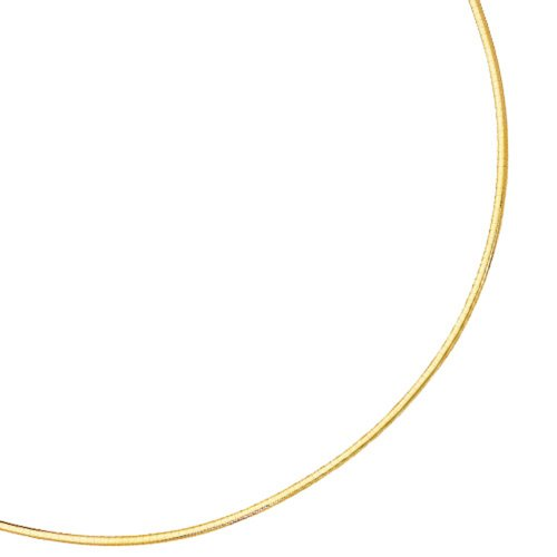 Jewelstop 14k Yellow Gold 2 mm Domed Omega Necklace, Lobster Claw Clasp - 16