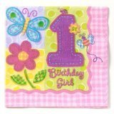 1st Birthday Girl 'Hugs and Stitches' Lunch Napkins (16ct)