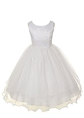 Satin Bodice Communion Dress with Floral Waistband and Tulle Skirt