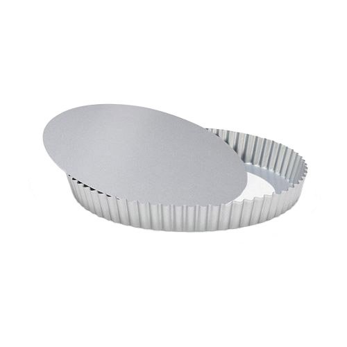 Patisse Nonstick Silver Top Flan Tin with Loose Base, Silver Grey