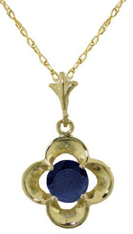 14K Gold Natural Sapphire Flower Pendant Necklace