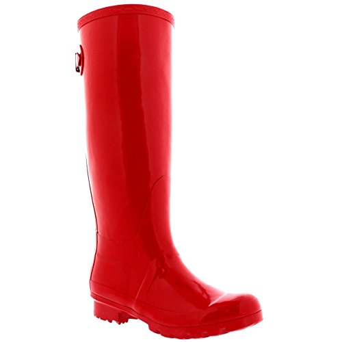Womens Adjustable Back Tall Gloss Wellington Winter Wellies