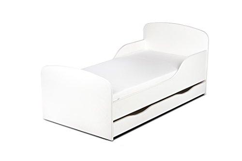 Cama infantil con colchón y cajón. Blanco