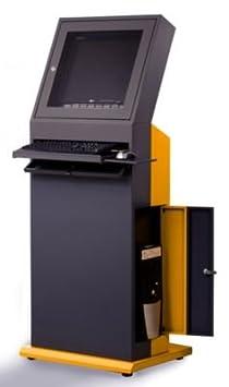 QUIPO Poste informatique - h x l x p 1600 x 650 x 600 mm gris ardoise / jaune melon - armoire informatique armoire pour ordinateur armoires informatiques armoires pour ordinateur meubles informatiques mobilier informatique poste de travail informatique