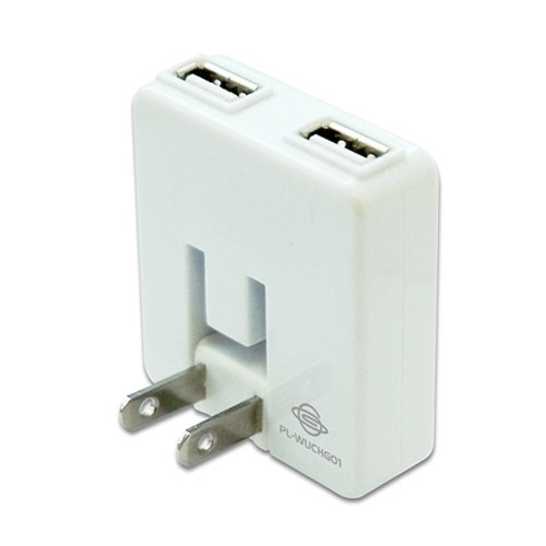 PLANEX 「充電万能」 2ポートUSB充電器 ホワイト (iPod/iPhone5/4s/4/3GS/3G/Xperia/Galaxy/au/docomo/SoftBank/ウォークマン/PSP/DS/DSLite/Dsi 全ポート合計1A ) PL-WUCHG01