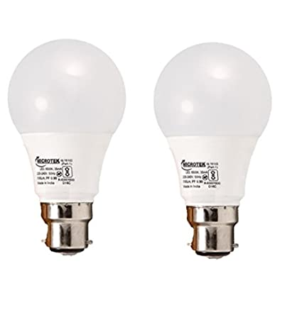 Microtek-7W-B22-LED-Bulb-(White,-Pack-Of-2)