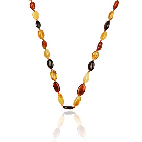 Amber Teething Necklace for Babies Beans Multi4 (Unisex) - Anti Flammatory, Drooling & Teething Pain Reduce Properties - Certificated Natural Oval Baltic Jewelry with the Highest Quality Guaranteed. Easy to Fastens with a Twist-in Screw Clasp Mothers Approved Remedies!
