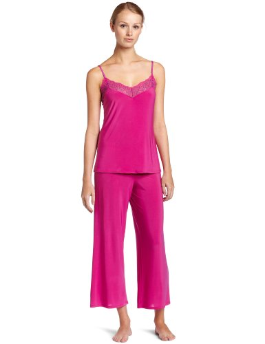 Josie by Natori Sleepwear Womens Rendevous 25 Inches Pajama Set, Fuchsia, Small