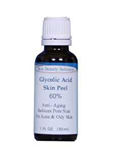 (1 oz / 30 ml) GLYCOLIC Acid 60% Skin Chemical Peel - Unbuffered - Alpha Hydroxy (AHA) For Acne, Oily Skin, Wrinkles, Blackheads, Large Pores & More (from Skin Beauty Solutions) made by Skin Beauty Solutions