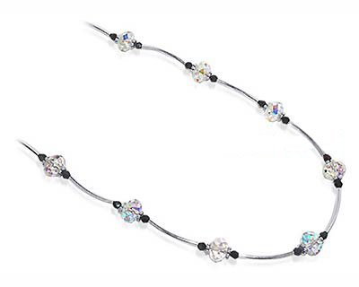 Sterling Silver Crystal Necklace 22 inch Made with Swarovski Elements